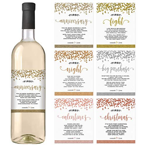 Wedding First Wine Bottle Labels | Set of 6 Waterproof Labels | Wedding Gift Set and Wedding Milestones