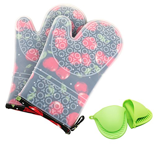 2pcs Kitchen Oven Glove Heat Resistant Silicone Pot Holder Baking BBQ Cook Mitts - 1