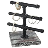 MyGift Industrial Metal Pipe Design 3 T-Bar Jewelry Rack with Torched Wood Base