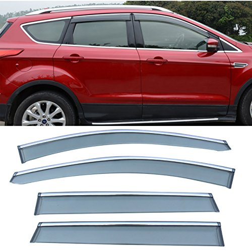 Chrome Vent (LEOZO 4pc Chrome Trim Sun/Rain Guard Vent Shade Window Visors Fit 13-17 Ford Escape)