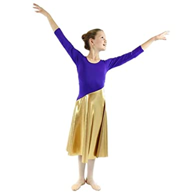 4ef0f697cca74 Danzcue Girls Bi Color Long Sleeve Worship Dance Dress, Deep Purple-Gold,  S-M