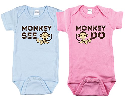 [Matching Outfits for Twins, Includes 2 Bodysuits, 6-12 Month Monkey See] (Monkey Outfits For Toddlers)