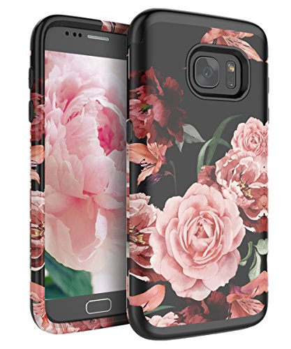 RabeMall Samsung Galaxy S7 Case Unique Pretty Flowers for Girls/Women Anti-Fingerprint Three Layer High Impact Resistant Hybrid Shockproof Protective Cover,Floral Black