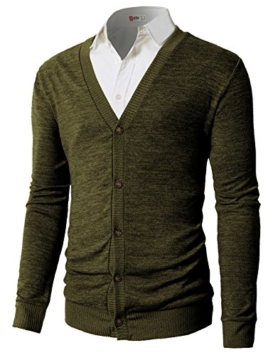 (H2H Men's Alpaca Blend Cardigan Sweater Olive US L/Asia XL (CMOCAL023))