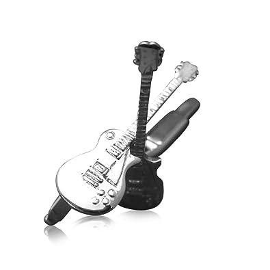 Anillo de los hombres de plata de ley de la guitarra eléctrica Gibson Les Paul de gemelos: Guitar-Necklace: Amazon.es: Joyería