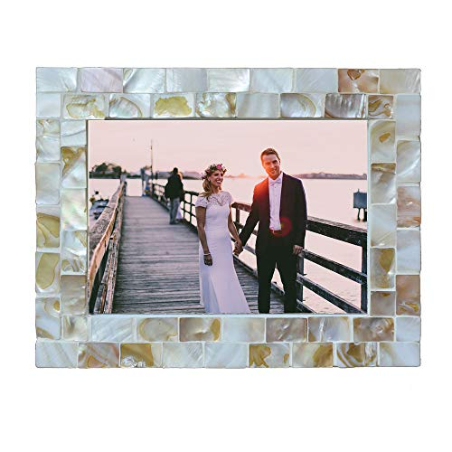 3 Mother Of Pearl - replicartz Photo Frame 3x5 Mother of Pearl White Photo Frame 3 by 5 Wedding Beach Picture Frame (5x7 White)