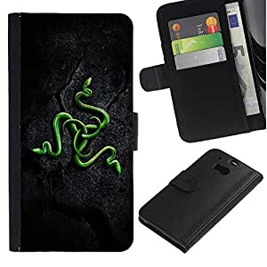 KingStore / Leather Etui en cuir / HTC One M8 / Verdes Serpientes