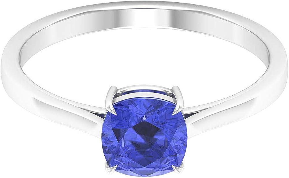 Anillo de boda con solitario y tanzanita certificado de 0,75 ct, anillo de compromiso de novia único, corte cojín, anillo de oro con piedras preciosas, clásico, 10K Oro