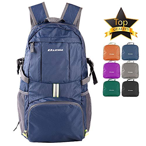 DVEDA Ultra Lightweight Packable Backpack, 35L Large Capacity Water Resistant Hiking Daypack Foldable Travel Backpack for Men Women Outdoor,Navy