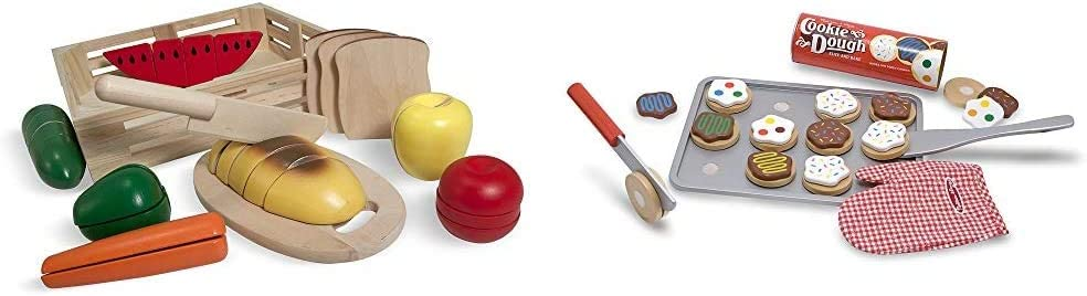 Melissa & Doug Cutting Food - Play Food Set with 25+ Hand-Painted Wooden Pieces, Knife, and Cutting Board & Slice and Bake Cookie Set