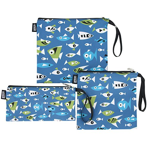 QOGiR Reusable Snack Bags and Sandwich Bags with Handle: Lead-Free,BPA-Free,PVC-Free,FDA Passed (Marine Fish)