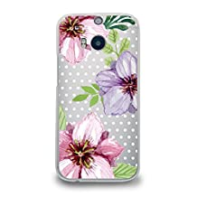 Case for HTC M8, CasesByLorraine Floral Flower Matte Transparent Case Polka Dots Plastic Hard Cover for HTC One M8 (P53)