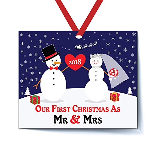 Bride & Groom Snowman Ornament 2018, First Christmas as Mr. & Mrs. Ornament, First Married Christmas, Wedding Gift Flat Rectangle Ornament, Red Ribbon & Gift Bag