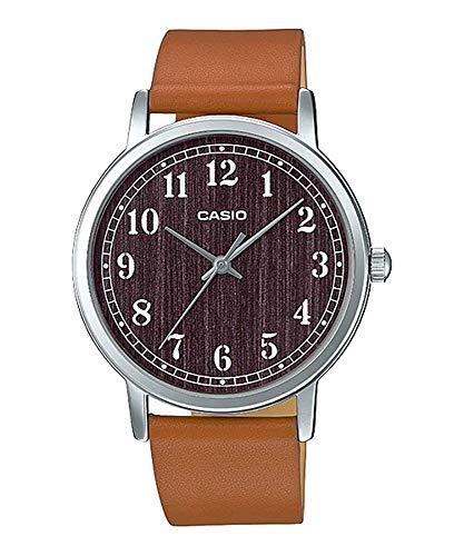 Casio MTP-E145L-5B1 Men's Minimalist Grey Wood Pattern Dial Leather Band Analog Watch