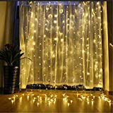 SZXKT 300LED Window Curtain Fairy String Lights with 8 Lighting Modes - 9.8FT (Warm White)