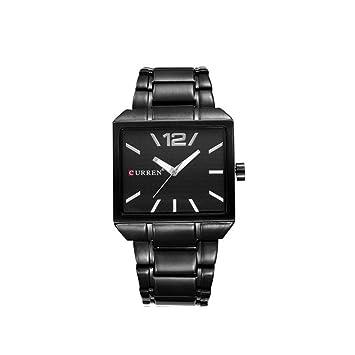 ♚Seven Hombres Cronógrafo Relojes Hombres Cuadrados Reloj De Pulsera De Cuarzo Resistente Al Agua Gents Casual Negocios Vestido De Moda Relojes Cinturón De ...