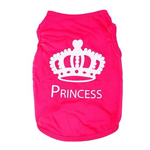 2017 New Fashion Summer Cute Dog Pet Vest Puppy Printed Cotton T Shirt (L, Pink) (Dog Princess Tee)