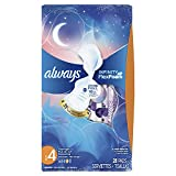 ALWAYS Infinity, Size 4, Overnight Sanitary Pads with Wings, Unscented, 28 Count (Pack of 2) (packaging may vary)