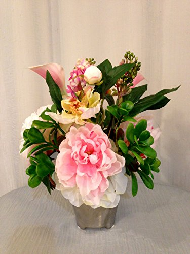Peony, Lilac and Jade Plant Arrangement in Silver Mesh Ce...