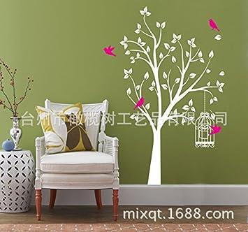 GOUZI Schlafzimmerwand Aufkleber Vogel Baum Und Käfig Große Wohnzimmer Hand  Bemalt Geschnitzt, Satz 60x220 Weißen