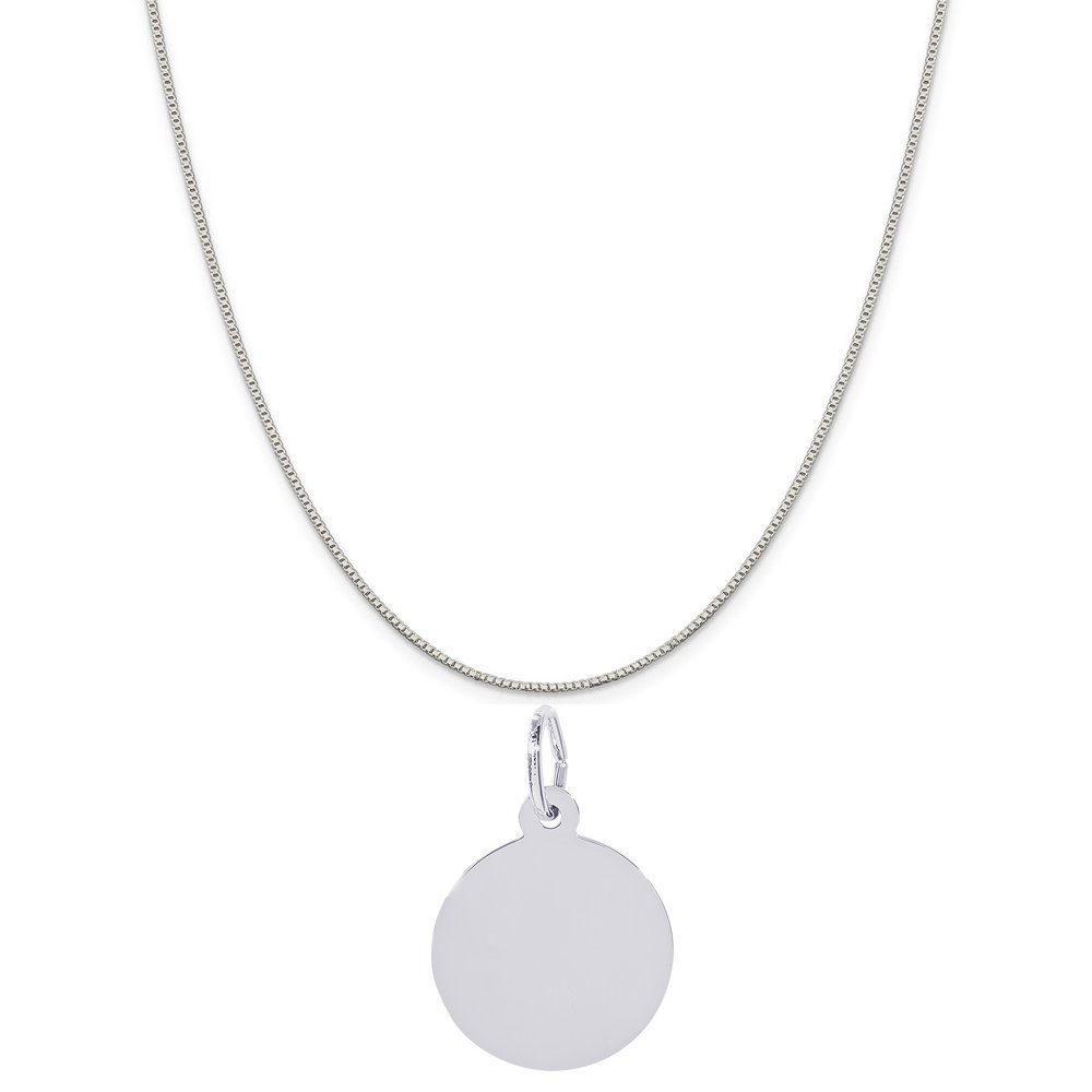 Rembrandt Charms Sterling Silver Extra Petite Round Disc Charm on a Box Chain Necklace
