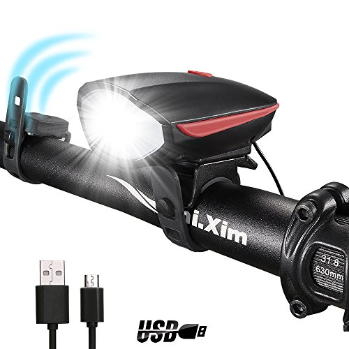 DARKBEAM Super Bright Bike Light Set USB Rechargeable Headlight with a Horn Waterproof LED Bicycle Light Set Easy to Install Cycling Safety Commuter Flashlight Best for Mountain Road