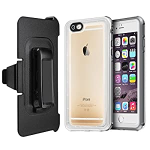 EONFINE iPhone 7/8 Plus Waterproof Case, iPhone 7/8 Plus Clear Protective Case IP68 With Touch ID Belt Clip Ultra Slim Shockproof Case for iPhone 7/8 Plus 5.5 inch(Gray+Transparent)
