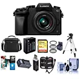 Panasonic Lumix DMC-G7 Mirrorless Micro Four Thirds Camera with 14-42mm Lens, Black - Bundle with Camera Case, 64GB SDXC U3 Card, Spare Battery, Tripod, 46mm Filter Kit, Software Package, And More