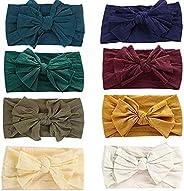 GUIFIER 8 Pack Baby Girl Headbands and Bows for Newborn Toddler Girls,Nylon Headbands