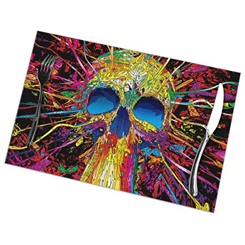Nice Music Skeletons Unique Halloween Scary Art 6 Piece Set of Placemats Pc Party Kitchen Dining Room Home Table Food Mat Patio Picnic Decorations Decor Ornament Themed Print Pattern Kid Girls]()