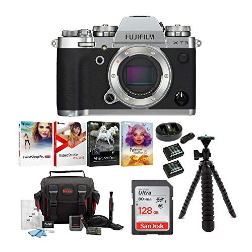Fujifilm X-T3 Mirrorless Digital Camera Body (Silver) Accessory Bundle with Sandisk 128GB Ultra SD Card, 2 NP-W126 & Dual Charger, Tripod and Deluxe Photo Software