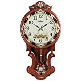 HENSE Antique Retro Decorative Large Size Wood Wall Clock Mute Quartz Movement Sweep Second Hand Wall Clocks Swinging Pendulum HP07 (Brown # L) Review