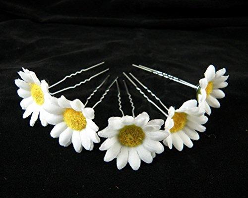cuhair 5pcs White daisy chrysanthemum hairpin Accessories Bride -