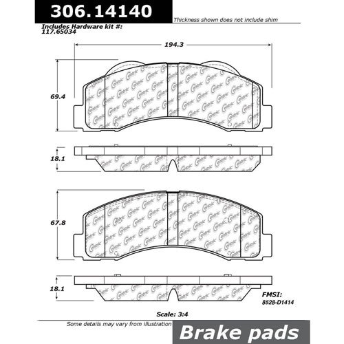 StopTech 306.14140 Brake Pad