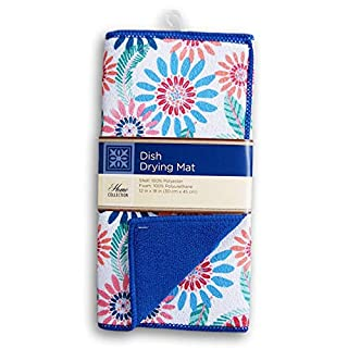Home Collection Pink and Blue Flowers Patterned Dish Drying Mat - 12 x 18 Inches