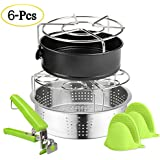 6 PACKS Accessories Steamer Basket Steamer Sets Steamer Base Springform Pan Egg Steamer Rack Silicone Oven Mitts Plate Dish Clip for Pressure Cooker Cooking Pot Steamer Pot Pan 4 5 6 8 qt