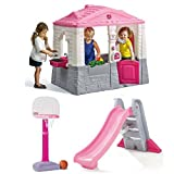 Girls Neat And Tidy Cottage Playhouse, Big Folding Slide & TotSports Easy Score Basketball Set, Pink, Little Tikes, Kids Outdoor, Playhouse, Sports, Imaginative, Physical Skills, Social, Fun Activity