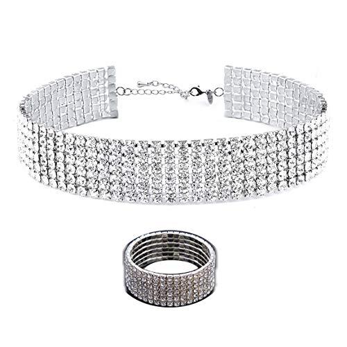 (Zealmer Fake Diamond Choker & Bracelet Set 6 Row White Gold Plated)