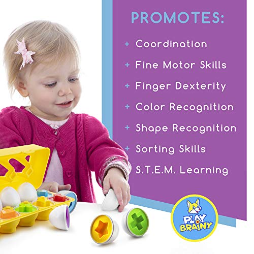 Play Brainy Shape and Color Matching Eggs – Easter Egg Toy – Educational Montessori STEM Toy for Toddlers and…