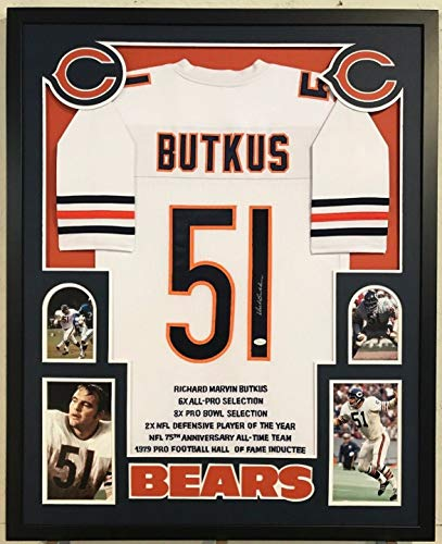 FRAMED DICK BUTKUS AUTOGRAPHED SIGNED CHICAGO BEARS STAT JERSEY JSA ()
