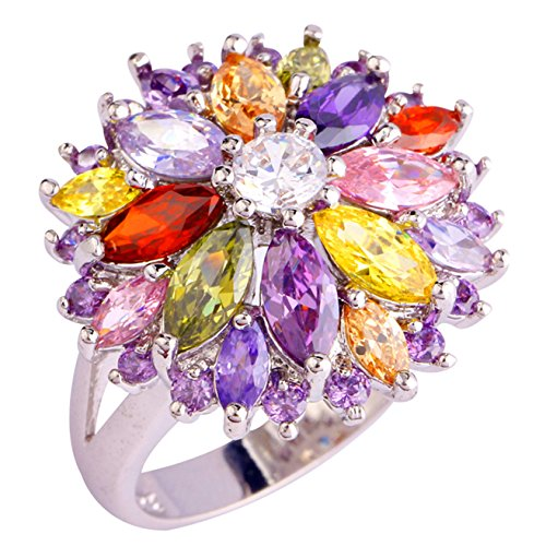 Emsione 925 Sterling Silver Plated Created Flower Peridot Multi-Stone Party Club Fashion Ring Size 7-12