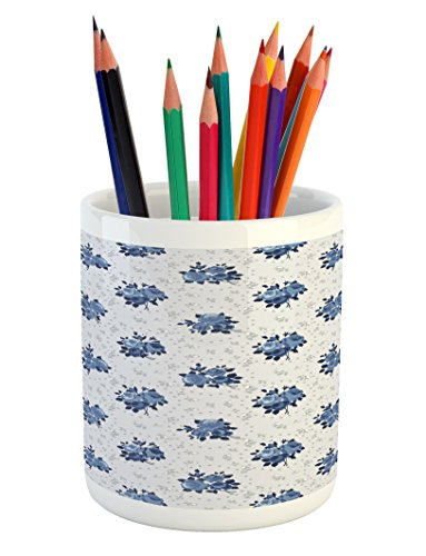 Dot Corsage - Lunarable Shabby Chic Pencil Pen Holder, Feminine Corsage Pattern Dark Blue English Roses and Circles of Dots, Printed Ceramic Pencil Pen Holder for Desk Office Accessory, Dark Blue Pale Grey