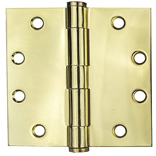 Global Door Controls 4.5 in. x 4.5 in. Bright Brass Ball Bearing Hinge - Set of 3