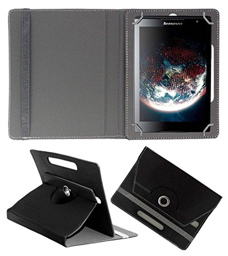 Acm Rotating Leather Flip Case Compatible with Lenovo S8 50f Tablet Cover Stand Black