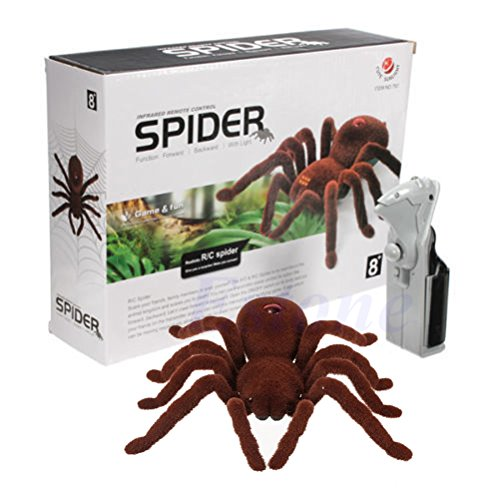 Abicial Kid Gift Remote Control Scary Creepy Soft Plush Spider Infrared RC Tarantula Toy