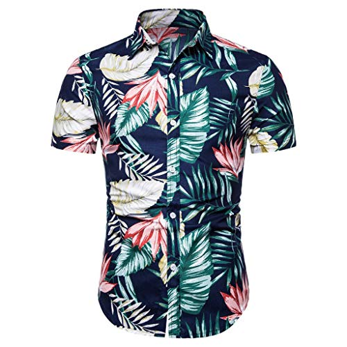 Casual Shirts for Men's Hawaiian 3D Printing Slim-Fit Turn-Down Long Sleeve Dress Shirt Blouse Tops (M, Blue -1)