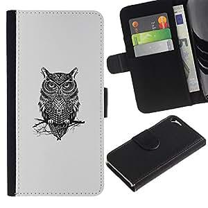 Protector de cuero de la PU de la cubierta del estilo de la carpeta del tirón BY RAYDREAMMM - Apple Iphone 5 / 5S - Gangsta Búho