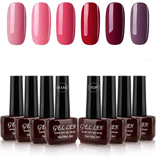 Gellen Gel Nail Polish Kit 6 Colors With Base Coat Top Coat - Wine Reds Series Popular Winter Colors Nail Art Home Gel Manicure Set