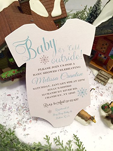 Set of 10 Pink, Blue or Gold baby Boy or Baby Girl Baby It's Cold Outside Winter Themed Baby Shower Invitations - All Wording Customized]()