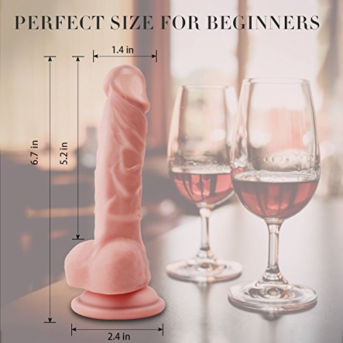 Realistic Ultra-soft Dildo for Beginners with Flared Suction Cup Base for Hands-free Play, Flexible Dildo with Curved Shaft and Balls for Vaginal G-spot and Anal play 6.7 Inch
